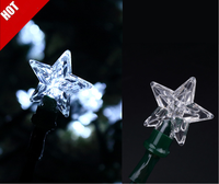 transparent star Solar string lights, for Garden chrismas Patio,Wedding,Party ,bedroom Outdoor decor,30LED lights