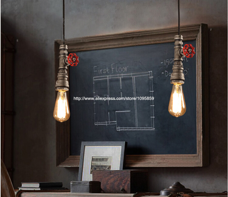 Metal Pipe Vintage Pendant Fixture Light Ceiling Lamp Hanging Lighting Gray tubo metalico industrial luz colgante warranty 100