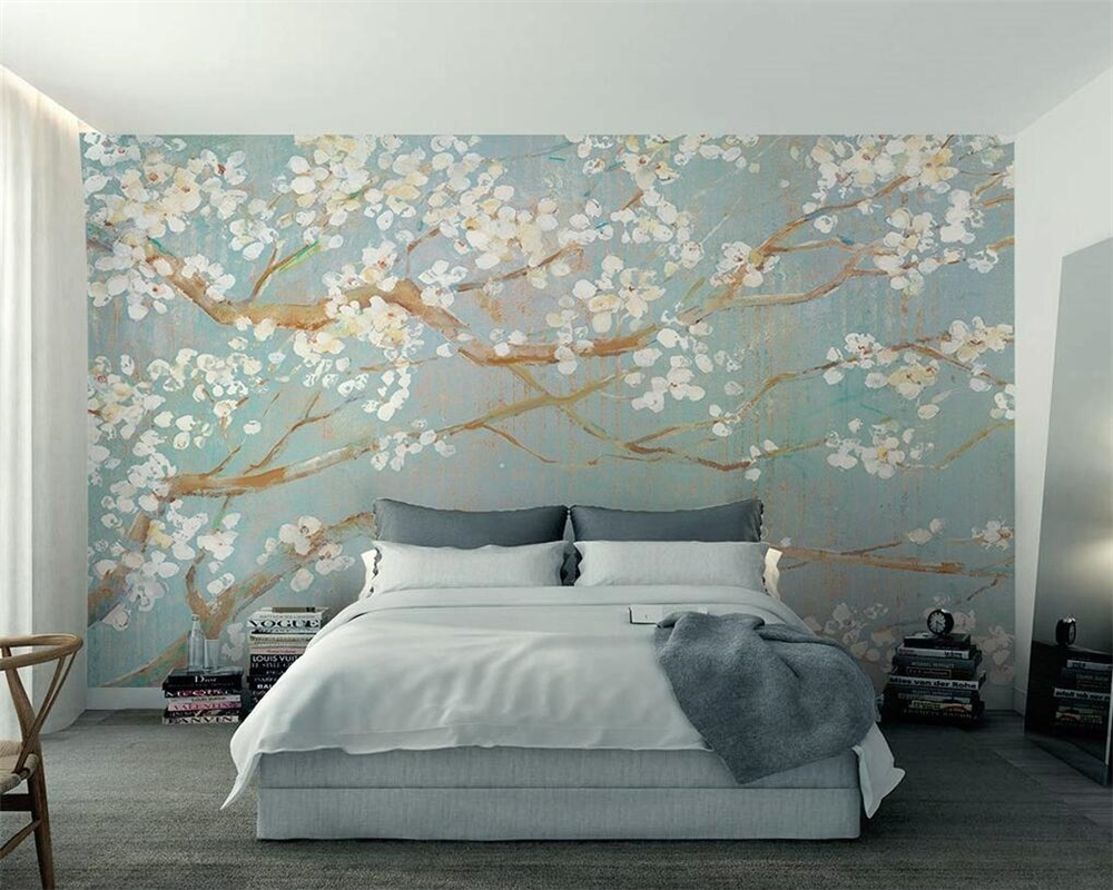 Beibehang Custom 3D Wallpaper Murals Plain Hand Painted Oil Painting Cherry Blossom TV Background Wall Wallpaper For Walls 3 D