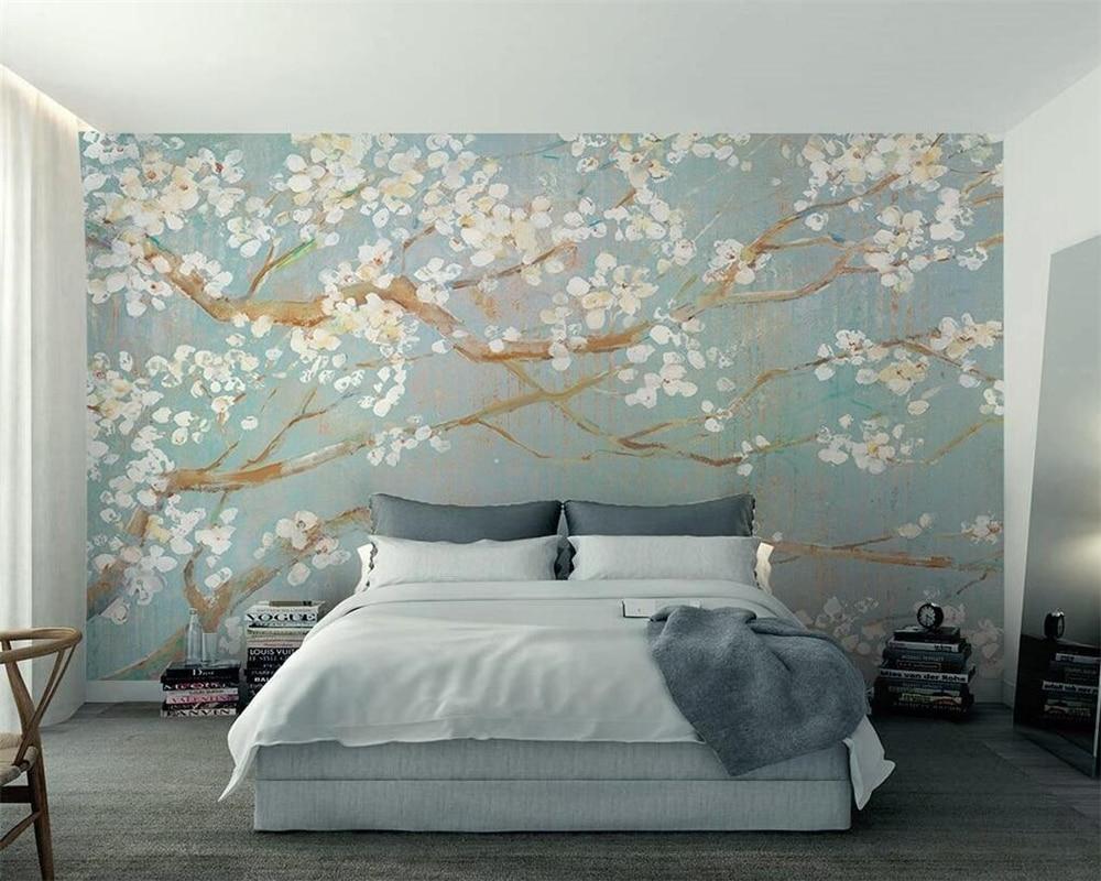 Beibehang Custom 3D Wallpaper Murals Plain Hand Painted Oil Painting Cherry Blossom TV Background Wall Wallpaper For Walls 3 D