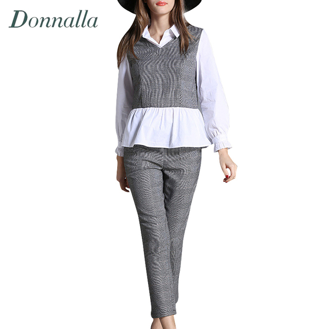 Women Sets Elegant Ladies Long Sleeve Plaid Patchwork Tops + Plaid Ankle Length Pencil Pants Women Clothing Two Piece Sets