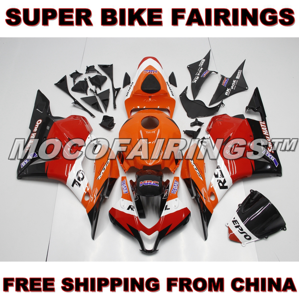 Free Shipping Motorcycle ABS Plastic Fairing Kit For Honda CBR600RR 2009 2010 2011 2012 Complete Fairings Orange Repsol Bodywork