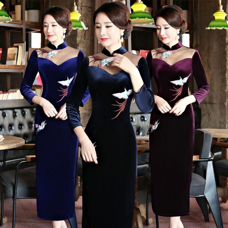 2018 nouveau bleu marine velours Qipao robe Style chinois femmes Mandarin col Long Cheongsam robes de grande taille M L XL XXL XXXL 4XL - 2