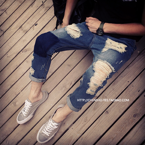 The new summer hot water recommended big hole jeans nine male jeans pants nine male lovers