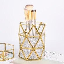Настольный дисплей, металлический каркас, стеклянная поверхность, держатель для хранения, кисти для макияжа, ручка, бутылка, коробка для офиса, домашнего декора