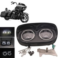 Motorcycle 80W White DRL Full Halo Dual LED Headlight For Road Glide 2004 2013