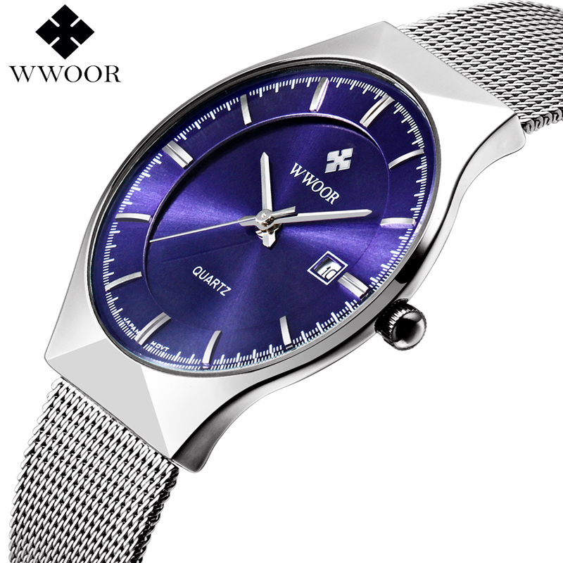 WWOOR Mens Watches Waterproof Slim Date Business Quartz Watch Men Top Brand Luxury Steel Mesh Strap Sport Wrist Watch Male Clock wwoor men watches waterproof ultra thin quartz clock male gold mesh stainless steel watch men top brand luxury sport wrist watch