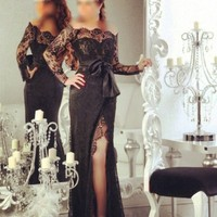 Off the Shoulder Long Sleeve Evening gown Split Side Floor Length 2018 Black Arabic Special Occasion mother of the bride dresses