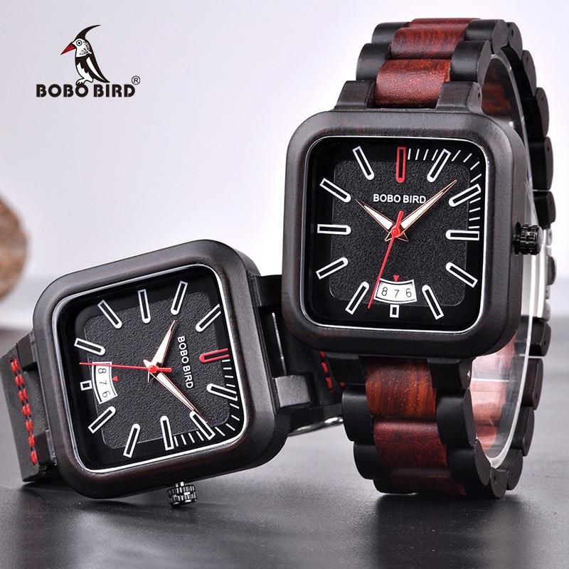 relogio masculino BOBO BIRD Watch Men Wooden Quartz Watches Mens Top Brand Luxury Date Wristwatches Accept Logo Drop Shipping