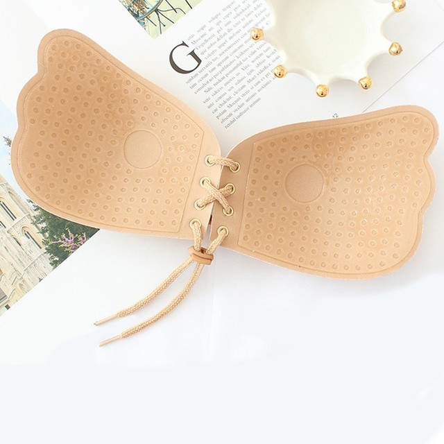 DERUILADY Seamless Self Adhesive Fly Bra Strapless Push Up Bra Wireless Stick On Sexy Lingerie Invisible Silicone Women Bra 4