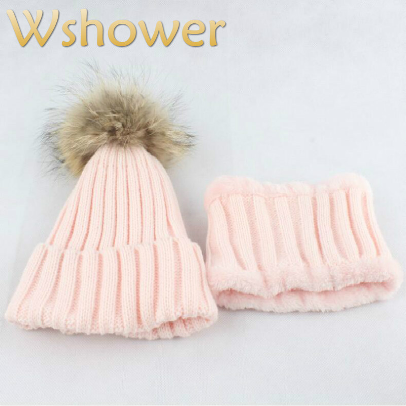 Kid Hat Scarf Sets Real Fur Pompom Winter Scarf Hat Sets For Children Boy Girl Fur Pom Pom Knitted Scarf And Hat Thickened Warm