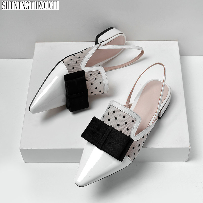 Fashion Ladies low Heels bowties Decoration Shoes woman Slingbacks Med New Arrival Pointed Toe Women Pumps