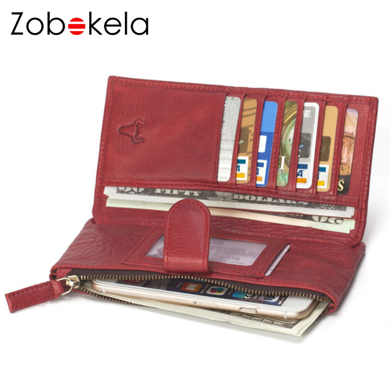 ZOBOKELA women wallet Genuine Leather Wallet Women Coin Purse Phone Clutch Brand design Lady Card Holder Money Bag Red 2018 new