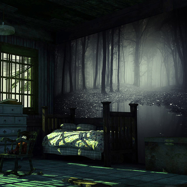 horror haunted background 3d bedroom escape forest mysterious mural decor non retro stereo custom wallpapers bar cafe woven zoom gothic