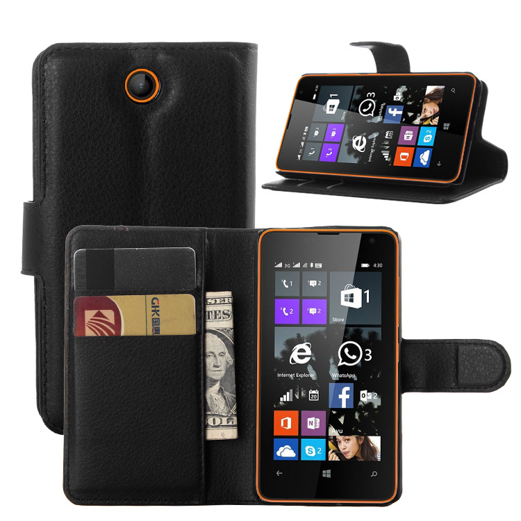 N430 Fashion Wallet PU Leather Case For Microsoft Lumia 430 / Dual SIM Magnetic Filp Cover Fundas Holder Stand Mobile Phone Bag