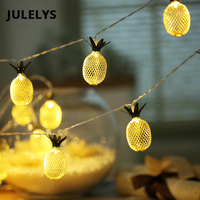 JULELYS 3M 20 Bulbs Novelty Battery Operated LED Retro Garland Pipeapple String Lights Decoration For Christmas