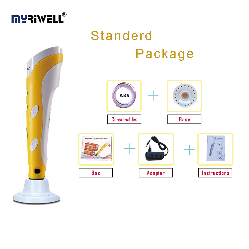 Myriwell 1nd 3D doodle Pen,3D Scribble Arts & Crafts  pen ,With 1.75mm ABS Filament(3color*3m) + base,Standard edition