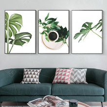 Nordic Home Decoration Palm Green Plants Landscape Coffee Posters Wall Art Pictures Canvas Painting Kitchen Restaurant Decor(China)