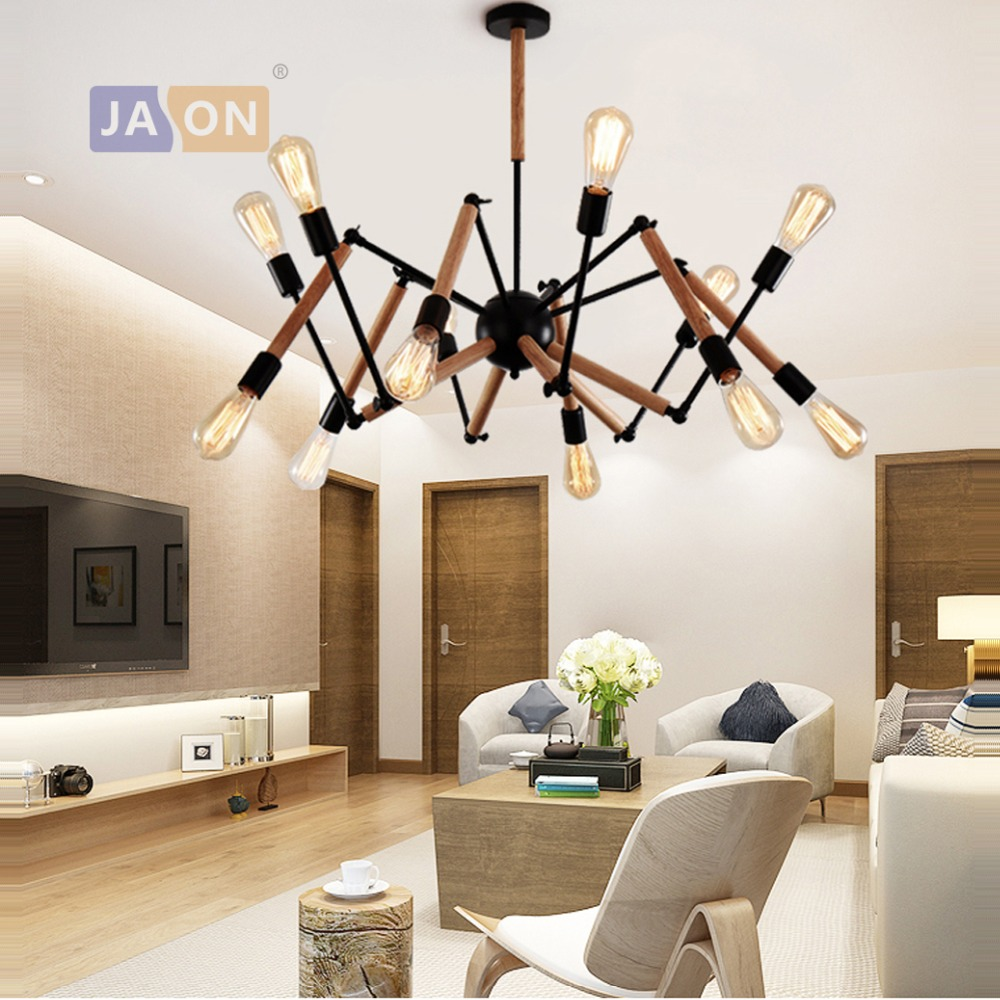 led e27 Nordic Iron Wooden Black White Spider Chandelier Lighting Lamparas De Techo Suspension Luminaire Lampen For Foyer