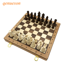 New Hot Folding Chess Wooden Chess Game Children Gifts Crafts multifunctional Chess Set Pieces Interesting Backgammon Board Game цены онлайн