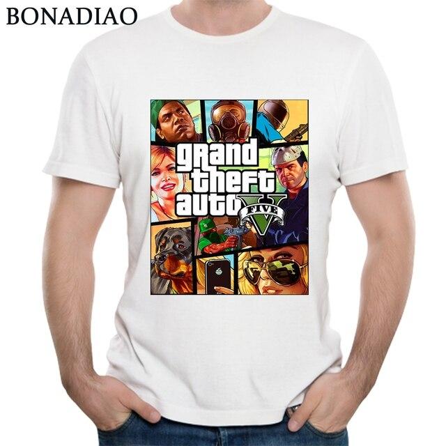 GTA 5 رجل T قميص لعبة سرقة السيارات الكبرى أوم المحملة قميص أنيق القطن Camiseta