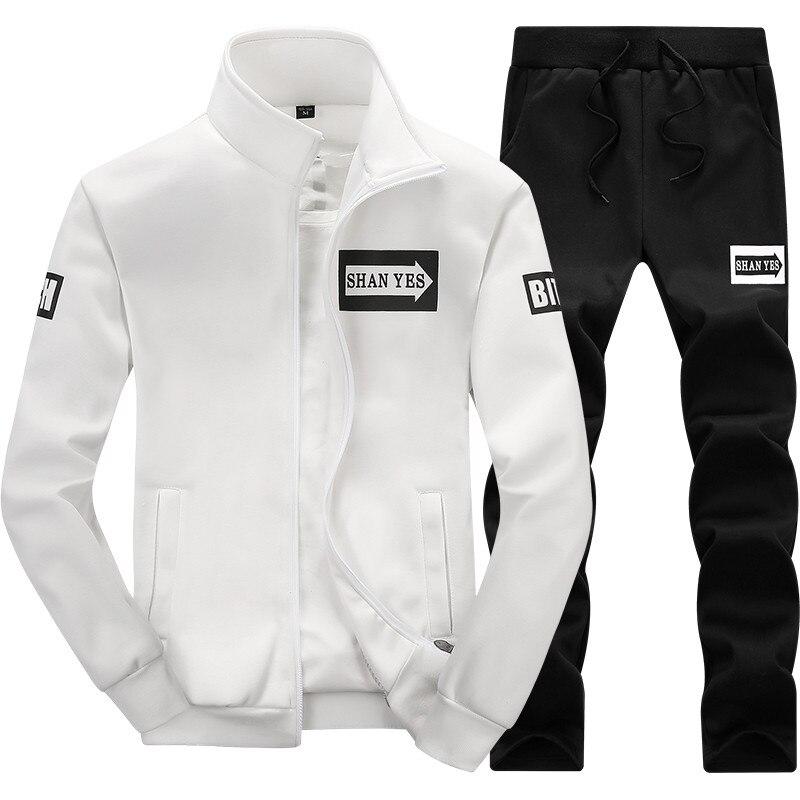 Men Set Clothing Cotton Casual Sportswear Tracksui...