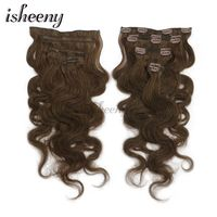 Isheeny 14 16 18 Remy Clip In Human Hair Extensions 7pcs/set Body Wavy Clip in Full Head Black Brown Blonde