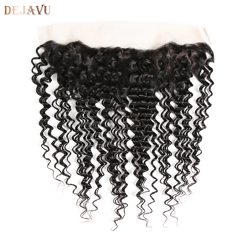 Dejavu Brazilian Deep Wave 13*4 Ear to Ear Lace Frontal Closure 100% Human Hair Non Remy Hair Natural Color 10-20 Inch