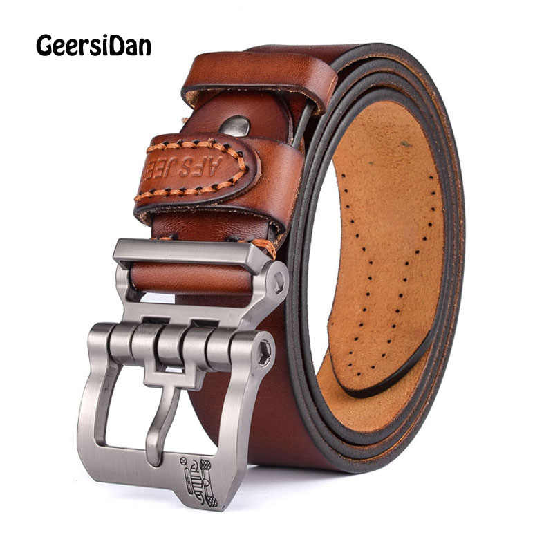 2018 New designer high quality luxury brand 100% cow genuine leather pin buckle belts for men male fashion business men belts