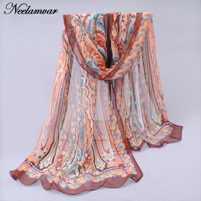 novi svileni šal iz šafonke Georgette ženske Bohemia dolge šal - Oblačilni dodatki - Fotografija 4