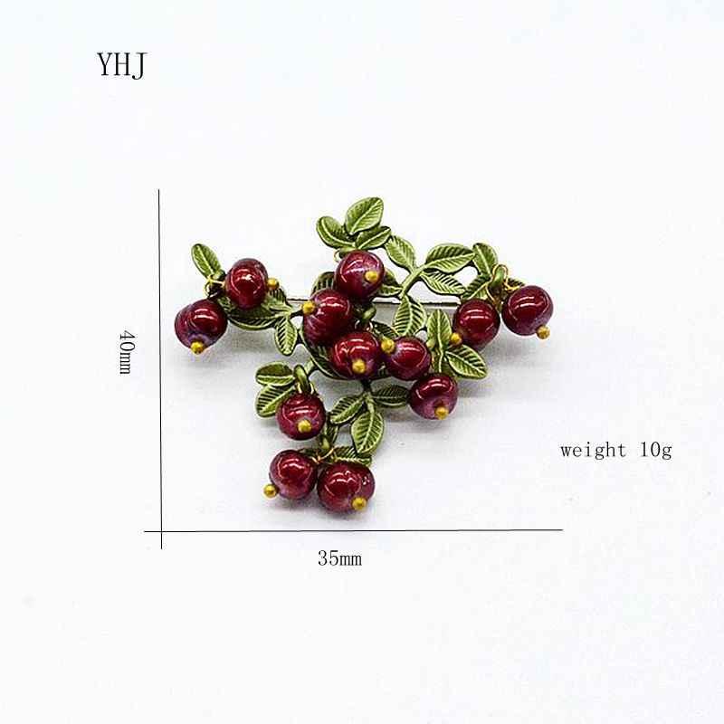 YHJ broszka w stylu vintage biżuteria brąz zielony, który piec farby naturalne perły żurawiny owoce broszka szaliki akcesoria na wesela