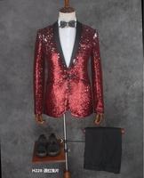 Отличное качество Slim Fit Блёстки Костюмы Для Мужчин's невеста жених модный костюм певцов Стадия Blazer коктейльное торжественное платье вечерне