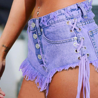 Summer Jeans For Female High Waist Denim Shorts European and American Style Women Bottom Short With Tassel Brand Designer S671