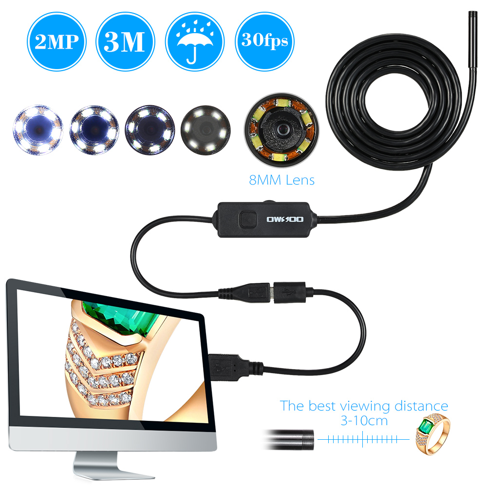 8MM 720P Endoscope IP67 Waterproof Inspection Borescope USB Wire Snake Tube Camera 6LEDS for OTG Compatible Android Smart Phones