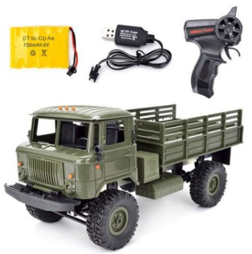 цена WPL B-24 GAZ-66 1/16 Remote Control Military Truck 4 Wheel Drive Off-Road B24 WPL GAZ RC Car Model Remote Control Climbing Car
