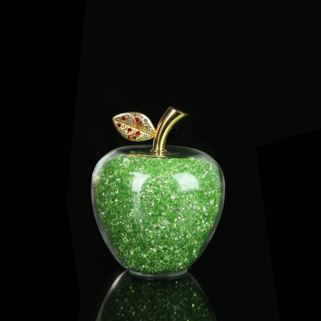 Colorful Crystal Craft Glass Apple Paperweight with Diamond Natural Stone Home Decor Ornament Fruit Figurines Gift Souvenir 5