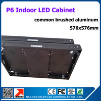 TEEHO High quality brushed aluminum led display cabinet 576x576mm indoor SMD3528 p6 led cabinet rental led display board