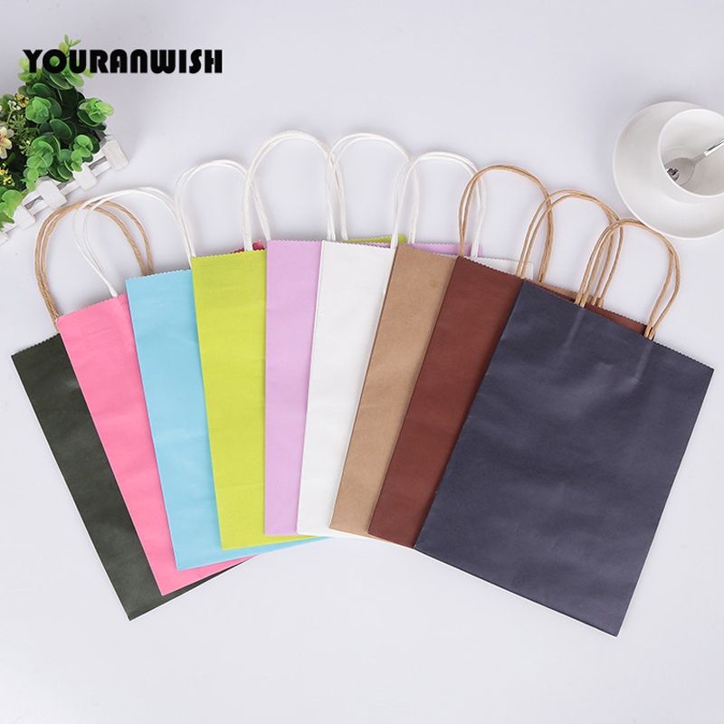 20pcs/lot White Pink Purple Sky Blue Coffee Kraft Paper Gift Bag With Handle Wedding Birthday Party Gift Package Bags