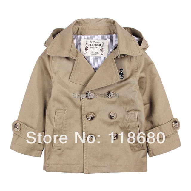 new 2014 spring autumn kids jackets & coats baby clothing child double breasted trench baby boys and girls Casual  outerwear