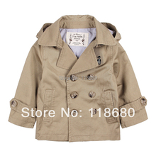 spring autumn High Quality Girls Boys Trench Coat British Style Removable Cap Do