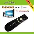 2.4 GHz Giroscopio Mini Wireless Fly Air Ratón T2 Android Remoto control 3d sense motion palillo ratones gaming keyboard para tv caja