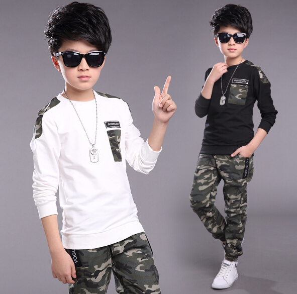 Children Clothing Sets 2018 Spring Boys Tracksuit Cotton T-Shirt + Camouflage Pants 2 Pcs Sport Suit Boy Clothes Set 5-13Y free shipping children clothing spring girl three dimensional embroidery 100% cotton suit long sleeve t shirt pants