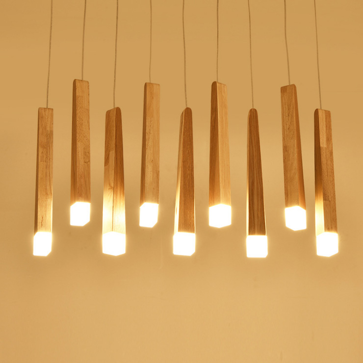 Nordic pendant lights restaurant cafe bar Exhibition hall hotel lobby counter match stick simple G4 art creative LED wood lamp