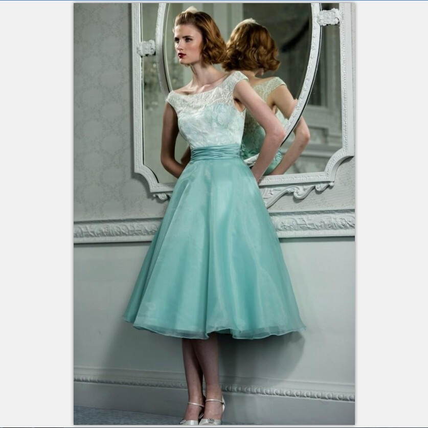 950s Vintage Tea Length Mint Green Prom Dresses With Scoop Neck Cap ...