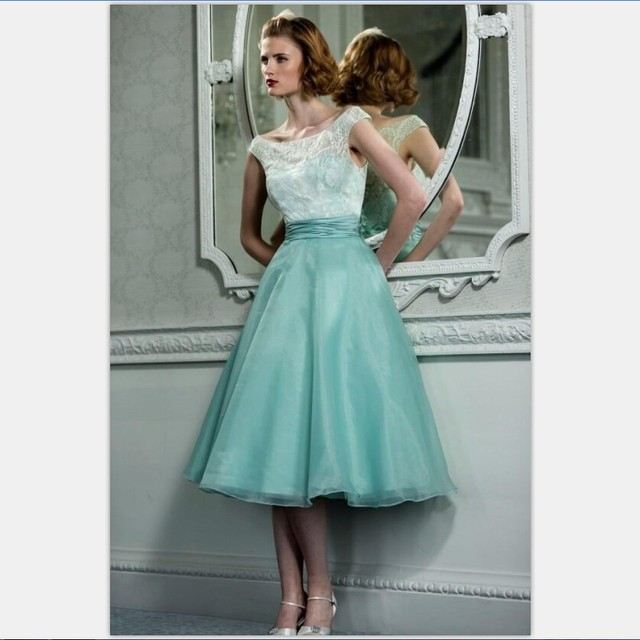 aa68df48537a 950s Vintage Tea Length Mint Green Prom Dresses With Scoop Neck Cap Sleeves  Lace Organza A-Line Formal Robe De Bal Courte