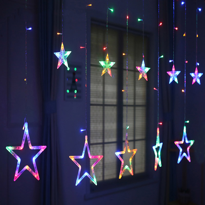 Romantic Fairy Star LEDs Curtain String Lighting For Holiday Party Christmas Festival 2M AC 220V lamps for Home Decration