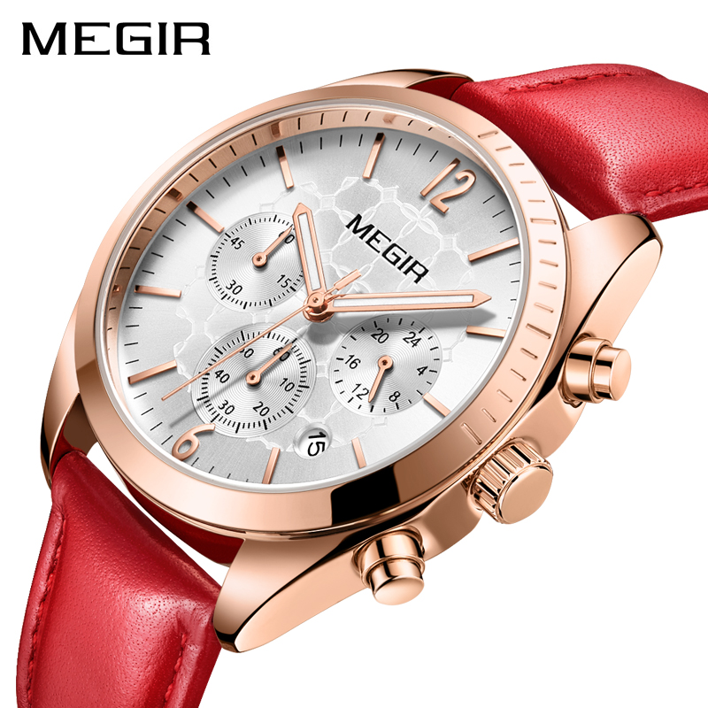 MEGIR Brand Luxury Fashion Rose Gold Watch Quartz Watches Women Red Leather Band Wristwatch Ladies Clock Women reloj mujer 2018 julius luxury brand women watch fashion rose gold watches women fashion casual quartz ladies wristwatch reloj mujer clock female