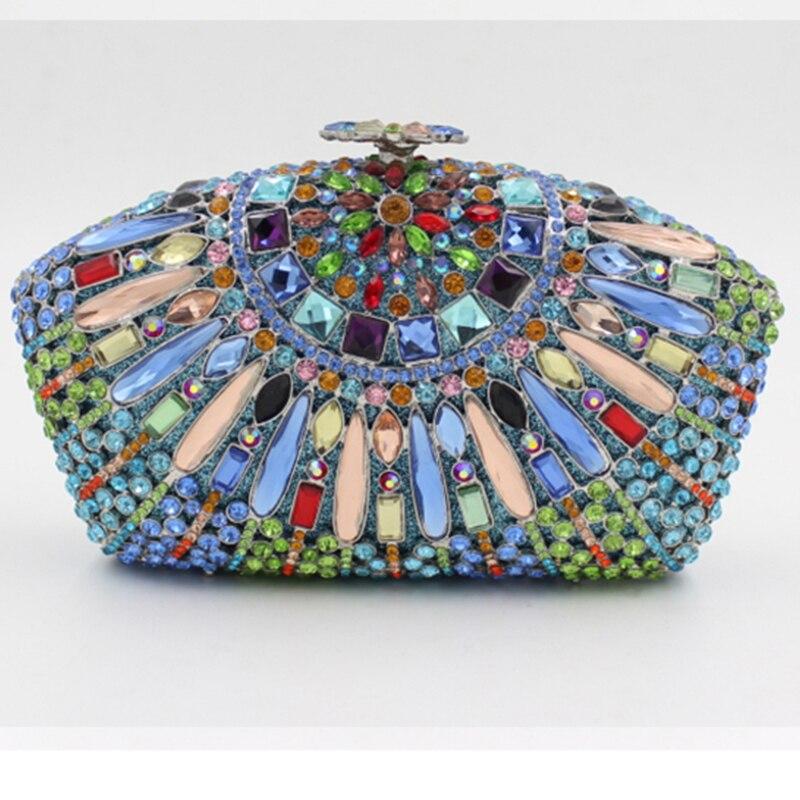 Cristal Xiyuan silver Main red Qualité Métal D'embrayage De Précieuses À Top En rouge Soirée Pierres blue Chaîne Black Luxe bleu Femmes Sac Dames or Argent 0xOfpp