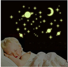 Creative Indoor Decorations Planet World Luminous Green Stickers Removable Wall Sticker Bedroom Den Nursery Decoration Stickers