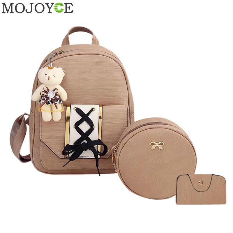 3pcs/Set Women Backpack Fashipn PU Leather Lace Up Backpack for Teenager Girls Travel Daypack Women Backpacks Shoulder Bag Purse